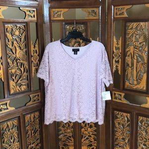 Liz Claiborne Lilac Lace Top Size PXXL